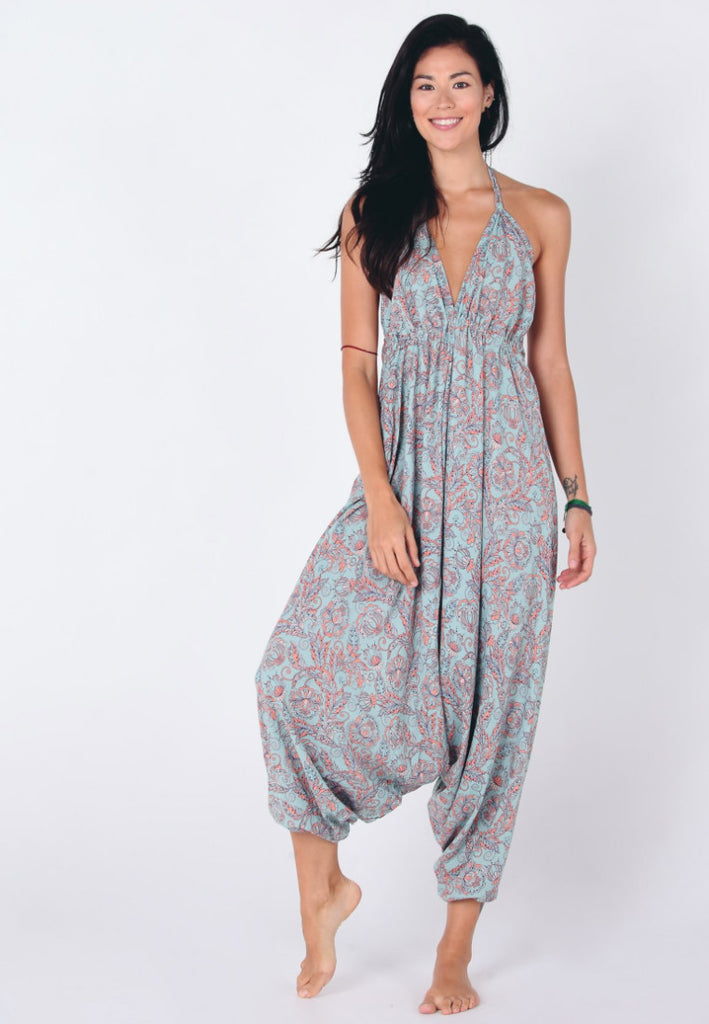 Aanya Hong Kong Women's Bohemian Blue Pink Paisley Tie Up Jumpsuit