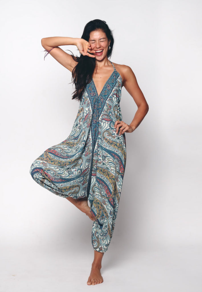 Aanya Hong Kong Women's Bohemian Blue White Paisley Tie Up Jumpsuit