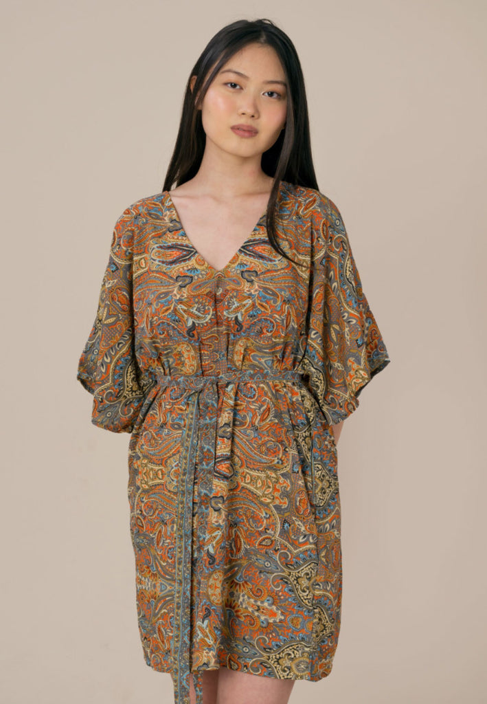 Aanya Hong Kong Women's Bohemian Orange Paisley Kaftan Dress