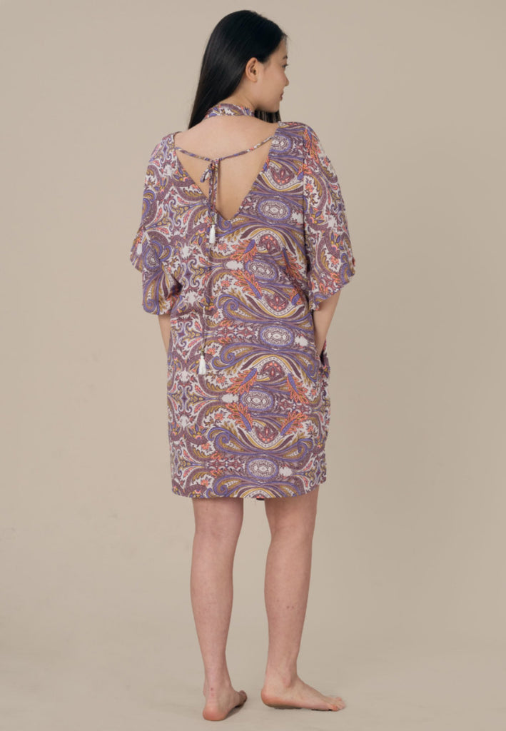 Aanya Hong Kong Women's Bohemian Purple Paisley Kaftan Dress