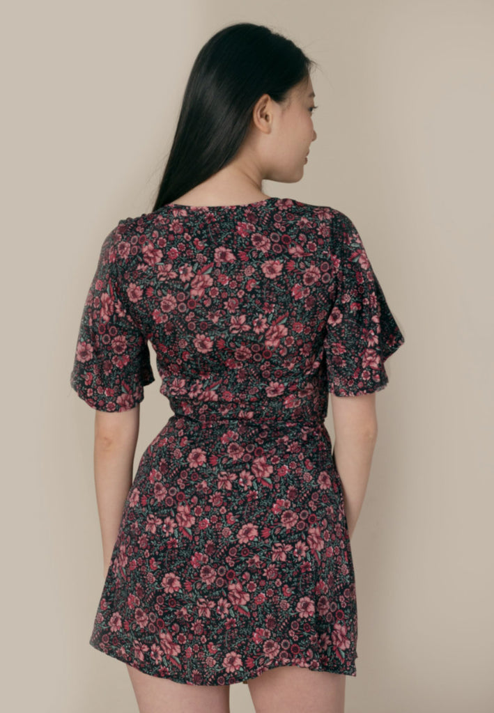 Aanya Hong Kong Women's Bohemian Black Pink Floral Wrap Dress