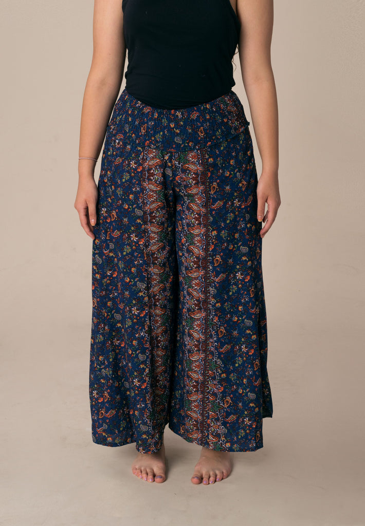Aanya Hong Kong Women's Bohemian Blue Red Paisley Palazzo Pants