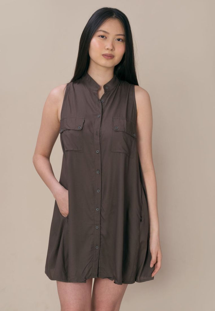Aanya Khaki Green Sleeveless Button Down Shirt Dress