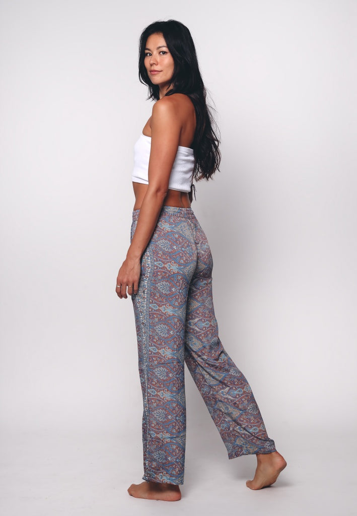 Aanya Blue Paisley Print Straight Pants