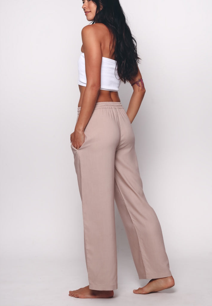 Aanya Straight Legged Beige Brown Tie Up Pants