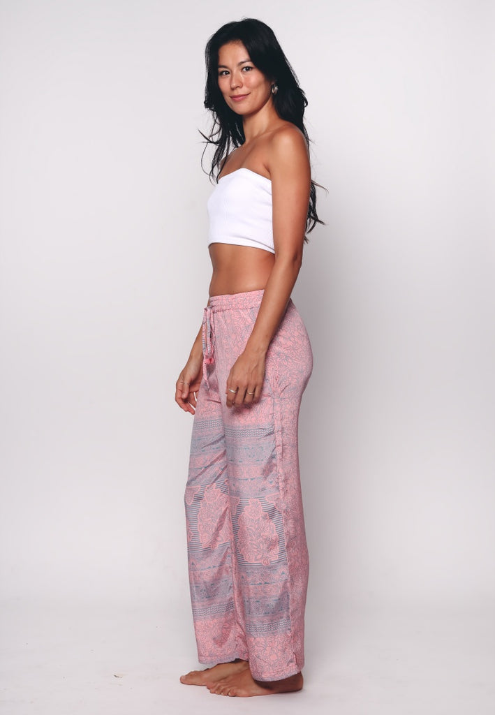 Aanya Pink Tribal Print Straight Pants