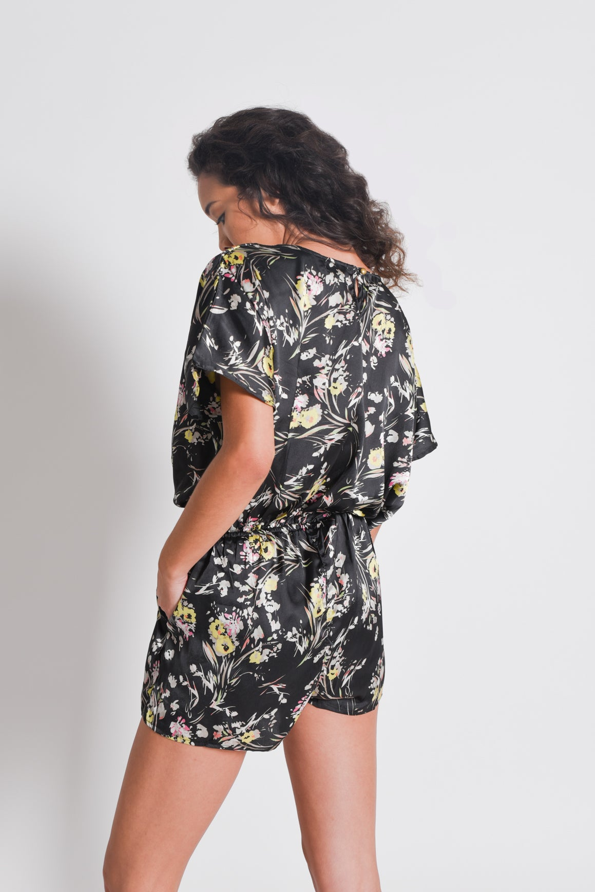 Shop Women's Black Floral Print Jumpsuit| Aanya