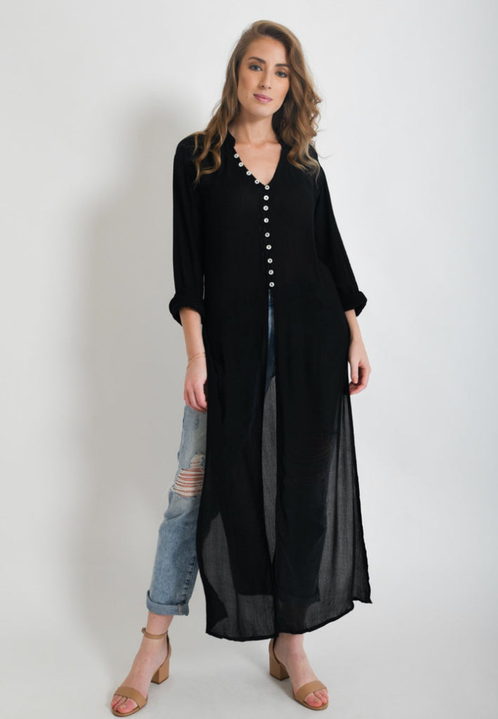 Aanya Hong Kong Women's Bohemian Black Long Sleeve Kimono Top