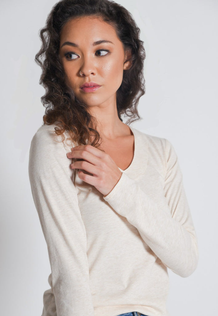 Aanya Hong Kong Women's Bohemian Beige Long Sleeve Top