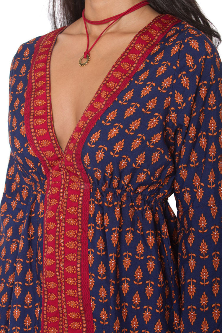 Low neck Indian printed short dress Aanya