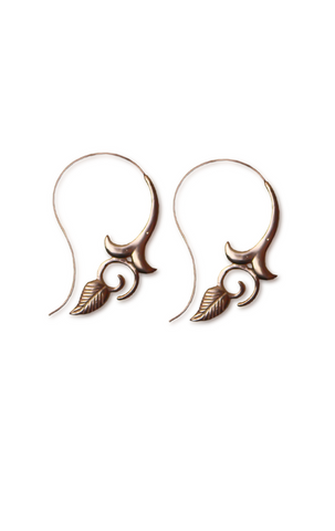 Floral Leaf Handmade Spiral Earrings RoseGold Aanya