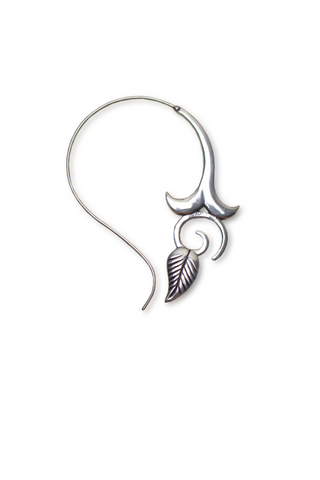 Floral Leaf Spiral Earrings | Silver - Big