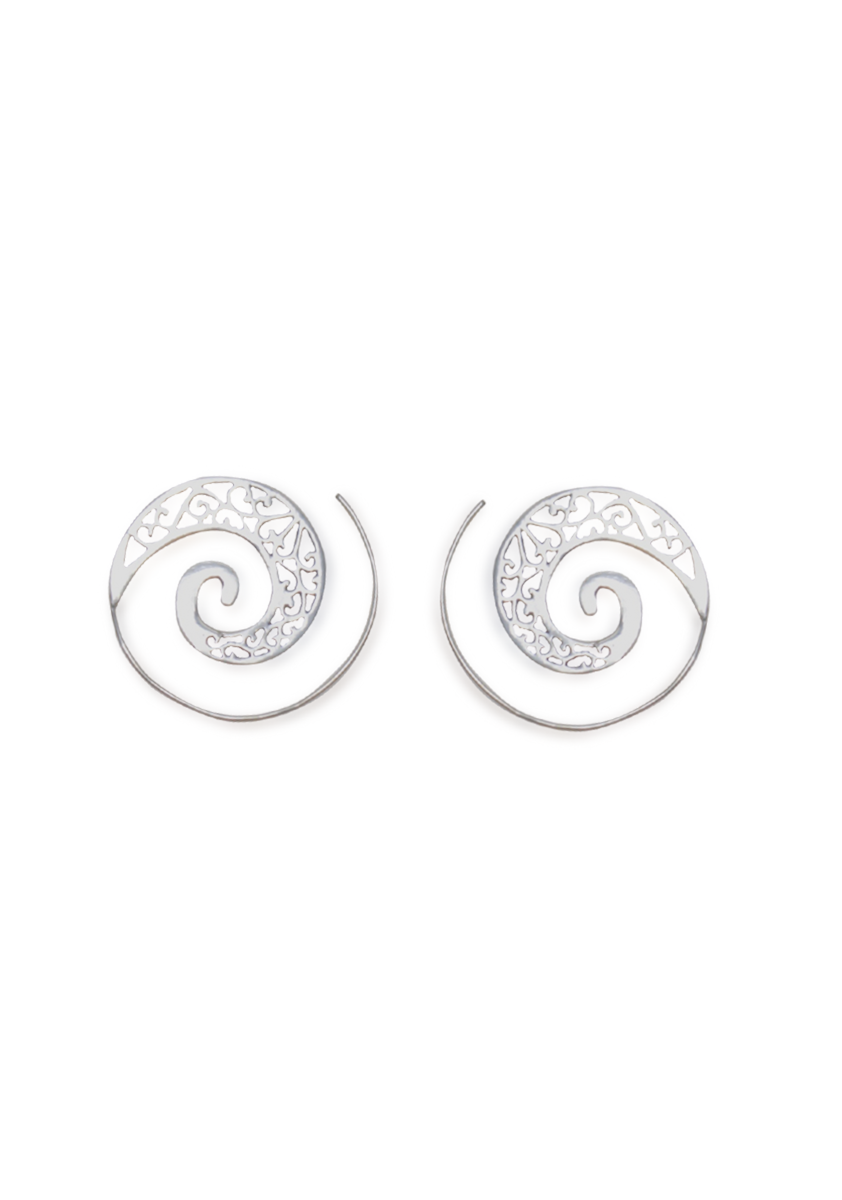 Jharokha Spiral Earrings | Silver - Small