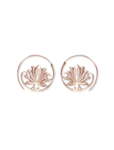 Shop Rose Gold Lotus Loop Earrings