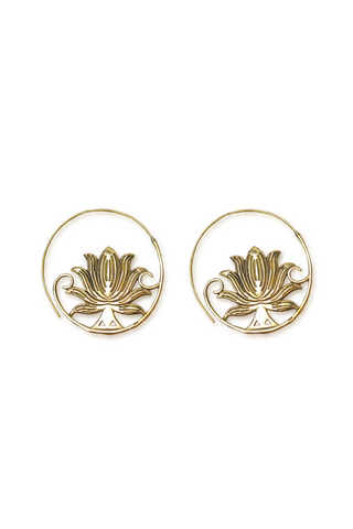 Shop Gold Lotus Loop Earring