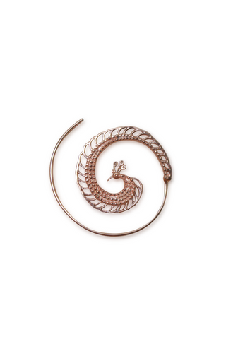 Peacock Spiral Earrings | Rose Gold - Small