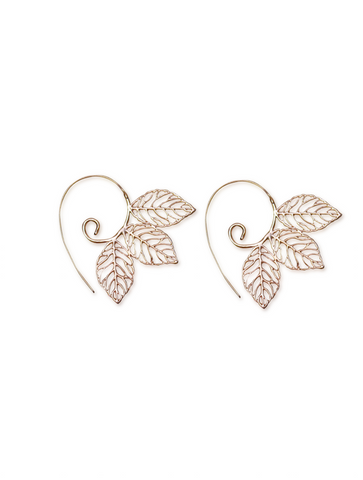 Three Leaf Handmade Spiral Earrings RoseGold Aanya