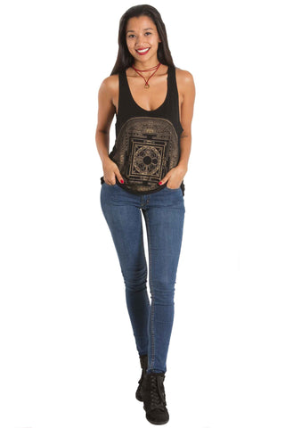 Black Tank Top Mandala Aanya Bohemian Fashion Sale