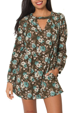 Boho chic floral short dress in green print with full sleeves a v-neck cutout. Perfect for women and girls looking for fall/winter resort wear. Shop online at Aanya Hong Kong.
