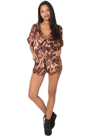 Boho luxe brown kimono jumpsuit made from a beautiful silk satin fabric in a floral print. Resortwear for women and girls. Shop online at Aanya Hong Kong.