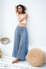 Shop Women's Wide Leg Slit Blue Pants | Aanya