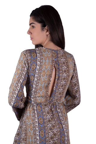 Back view of our Bohemian Anita Maxi Kaftan Dress with thigh high slit in brown panel print for boho women. Available on Aanya Hong Kong.