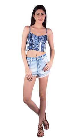 Blue Bohemian Crop Top perfect for women, ladies, girls for music festivals, Clockenflap, Coachella, raves. Shop festival fashion at Aanya Hong Kong.