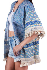 Bohemian Blue beach kimono, kaftan made out of rayon cotton with side pockets. Perfect for the traveling gypsy, ladies, women, girls. Shop online at Aanya Hong Kong.