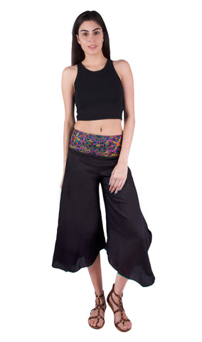 Bohemian black capri pants with cotton silk embroidery. The comfortable and stylish trousers nails boho-chic & travel style for all hippie girls. Shop online at Aanya Hong Kong.