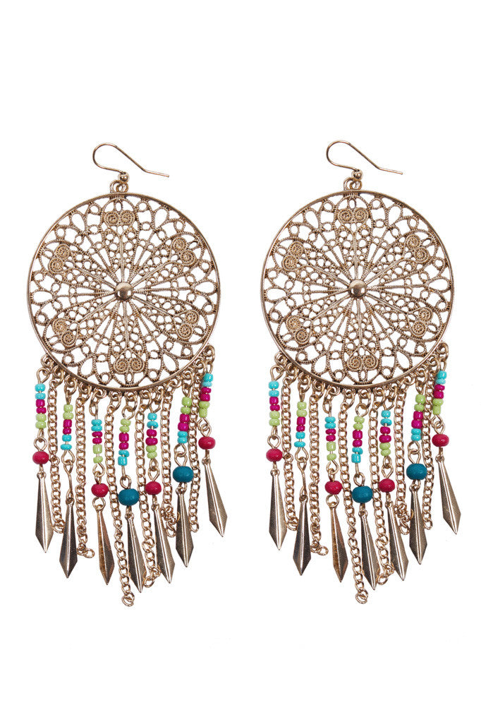High-polish gold earrings with dreamweaver pattern and multi-coloured beads and tassels. Bohemian accessory for gypsy, tribal, hippie-inspired women, ladies or girls. Shop boho earrings at Aanya Hong Kong.