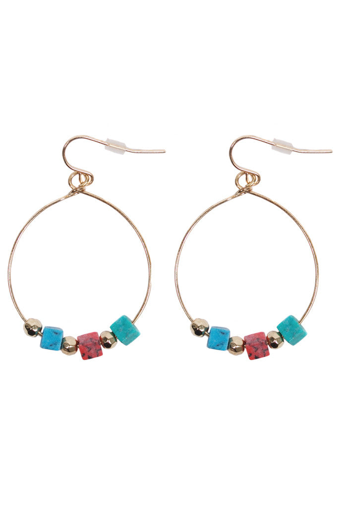Cute, playful hoops with multi-coloured plastic beads and stones to add a boho touch to any plain summer outfit. Bohemian accessory for women, ladies, girls. Shop online at Aanya Hong Kong