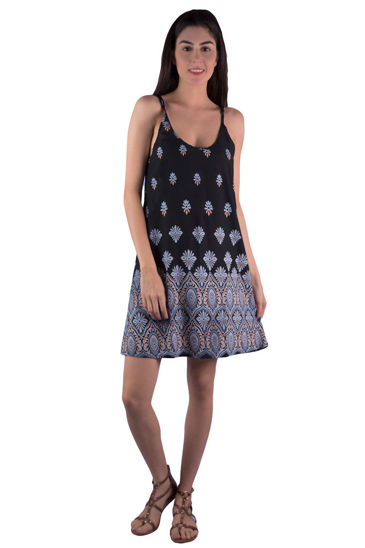 Black bohemian-inspired short dress with beautiful print and cutout at the back. Sleeveless mini, summer dress is perfect for boho chic women, girls, ladies. Shop online at Aanya Hong Kong.
