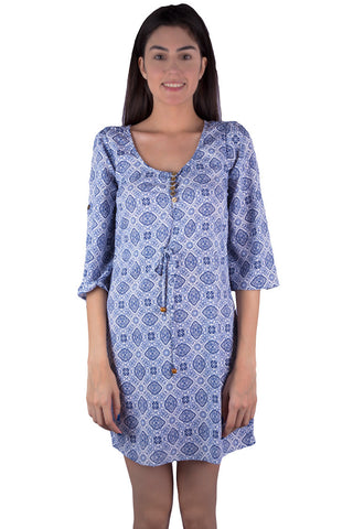 Bohemian Bell-Sleeve Dress in white and blue Arabic print. Gypsy style for women, ladies, girls. Shop online at Aanya Hong Kong.