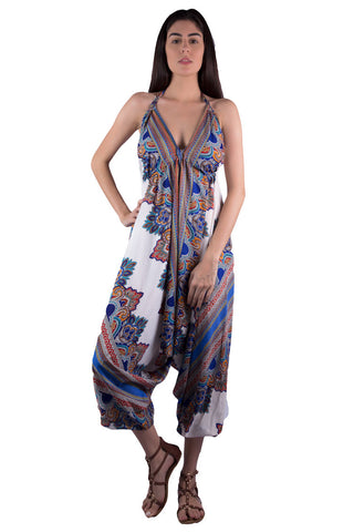 Shop Women's Blue Print Halter Jumpsuit | Aanya