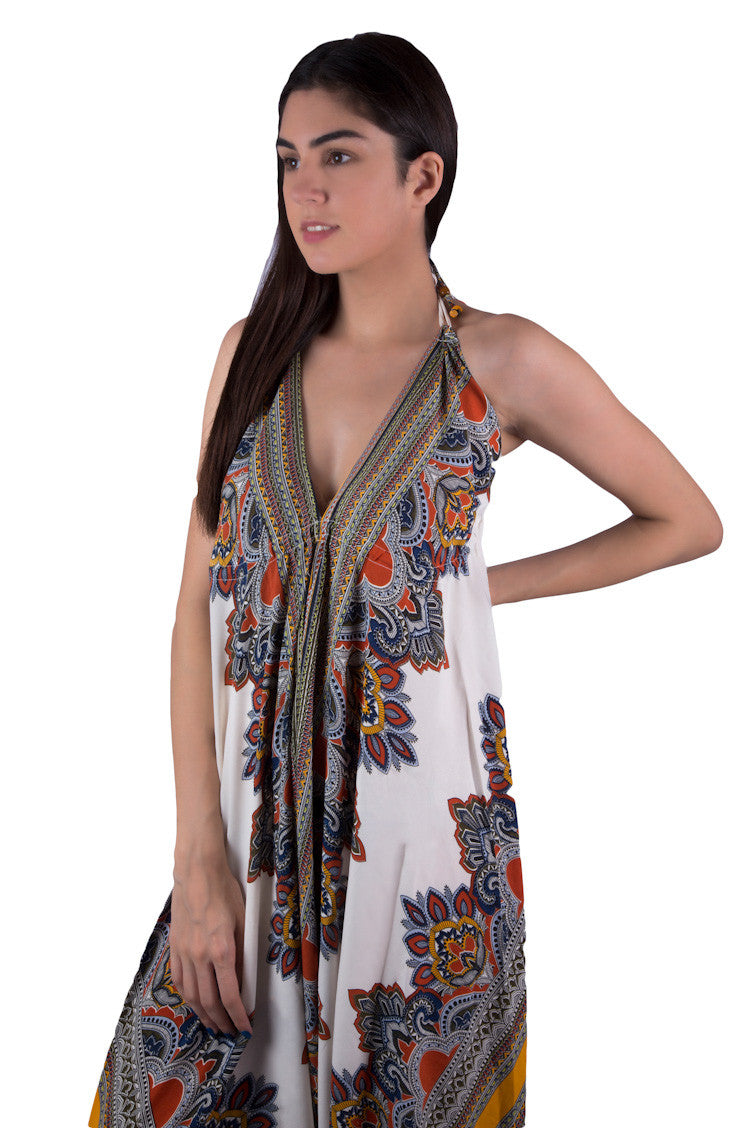 Boho chic Jumpsuit in Blue African Tribal Print for hippie, gypsy-loving women, girls, ladies. Halter neck with comfortable fit for summer, beach or holidays. Shop online at Aanya Hong Kong.