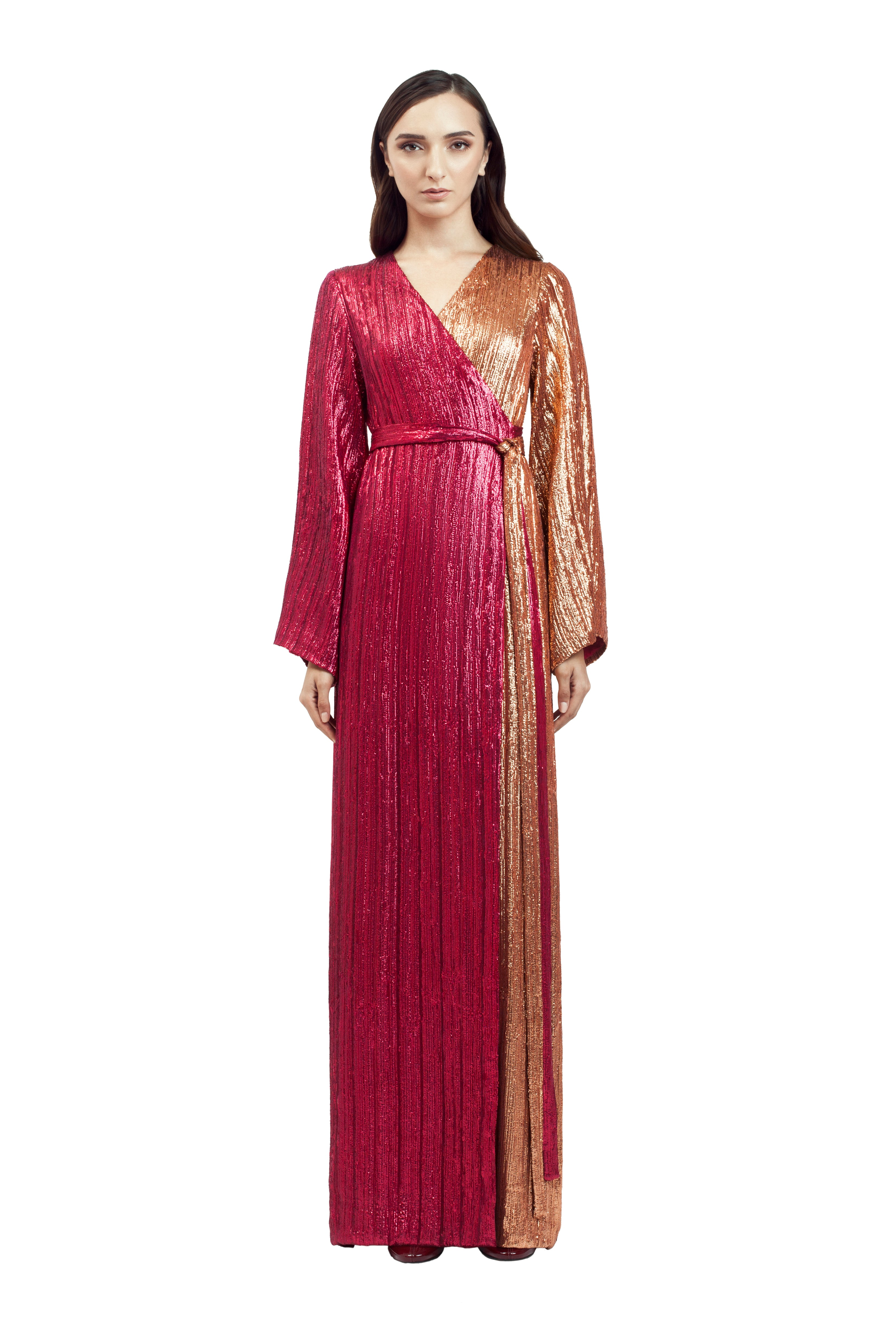 TWO-TONE SEQUIN ROBE GOWN