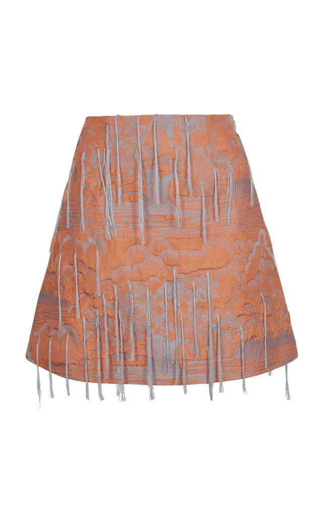 FRINGE EMBROIDERED MINI SKIRT