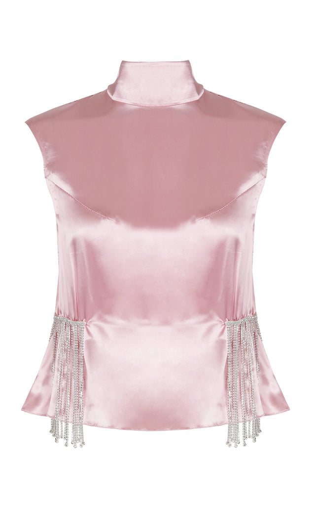 PINK SATIN CRYSTAL TOP
