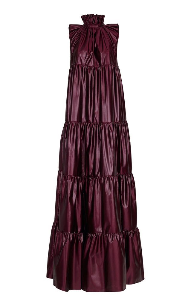 BURGUNDY TIERED LONG DRESS