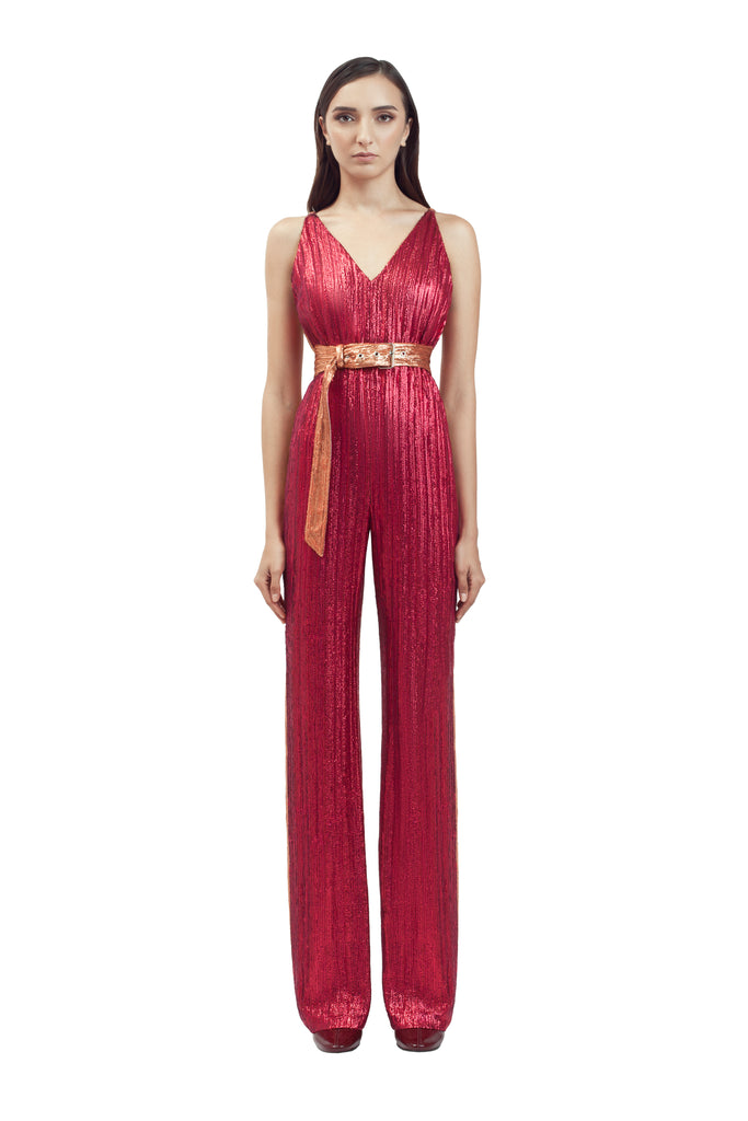 TWO-TONE SEQUIN JUMPSUIT