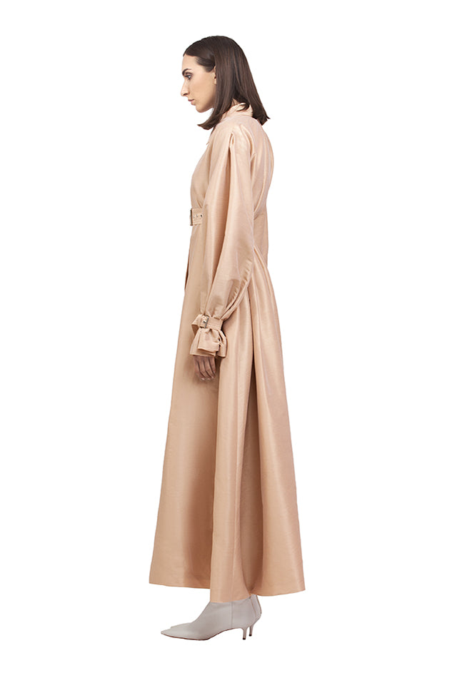 NUDE SILK A LINE TRENCH COAT