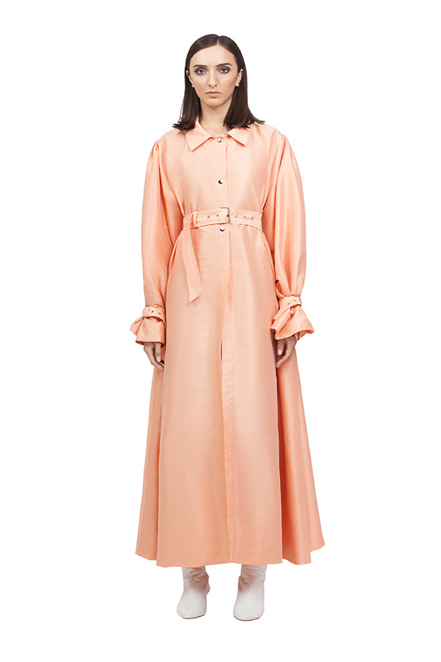 PEACH SILK A LINE TRENCH COAT