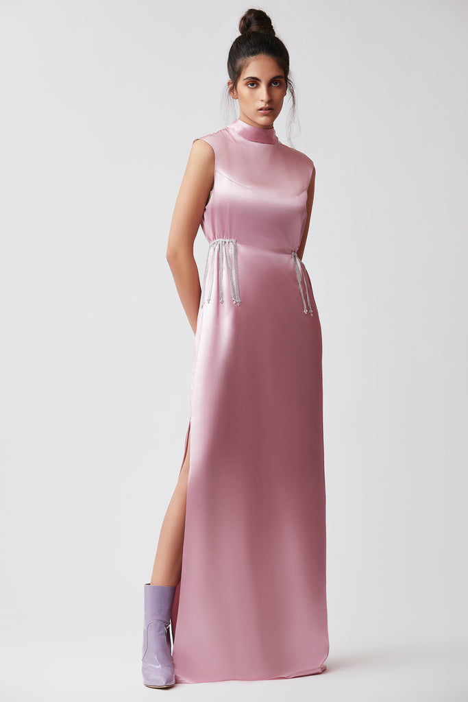 PINK SATIN CRYSTAL LONG DRESS