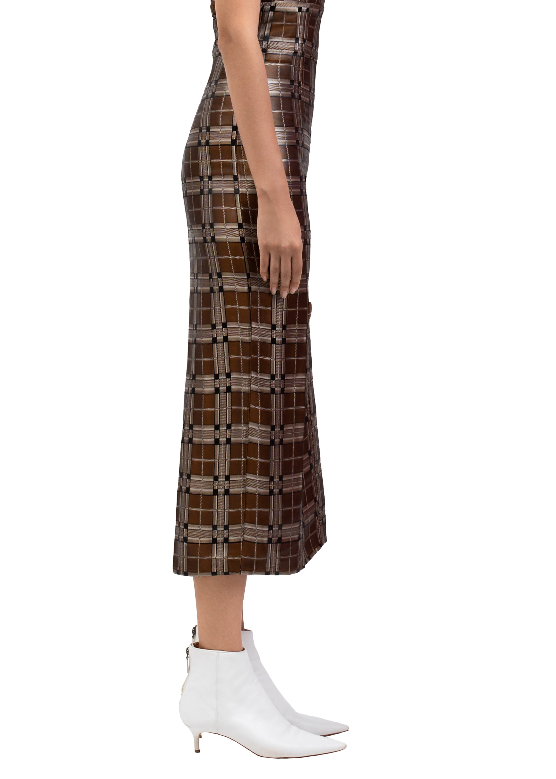 PLAID MIDI SKIRT