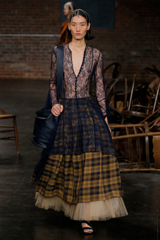 the-laura-dress-in-navy-lace,the-meryl-skirt-in-brown-check