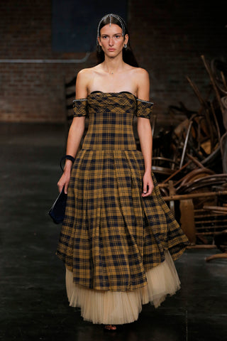 the-amanda-dress-with-petticoat-in-brown-check,the-alma-wristlet-in-navy-suede