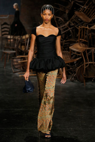 the-kimmy-top-in-black,the-ista-top-in-black,the-stockard-pant-in-red-paisley,the-envelope-pleat-clutch-in-navy-leather