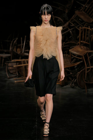 the-dionne-top-in-nude,the-birdie-short-in-black,envelope-pleat-clutch-in-black-leather