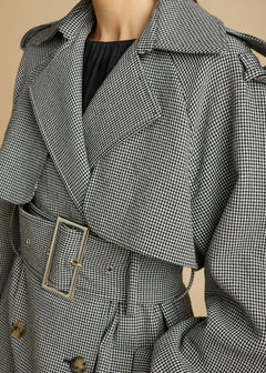 The Binx Trench in Black and White Houndstooth