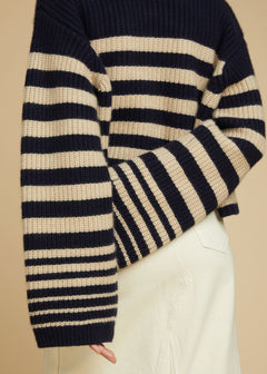 The Dotty Sweater in Navy and Butter Stripe